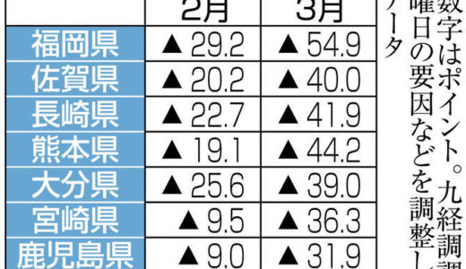 宿泊施設稼働3月は半減 九州、前年同月比 九経調「さらに悪化へ」---西日本新聞