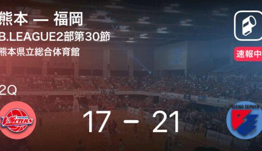 【速報中】1Q終了し福岡が熊本に4点リード