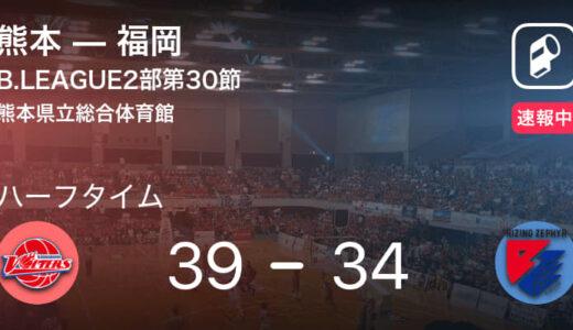【速報中】熊本vs福岡は、熊本が5点リードで前半を折り返す