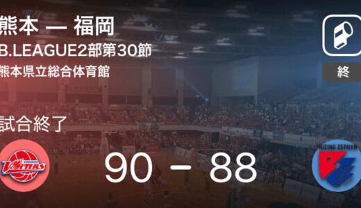 【B2第30節】熊本が福岡から勝利をもぎ取る